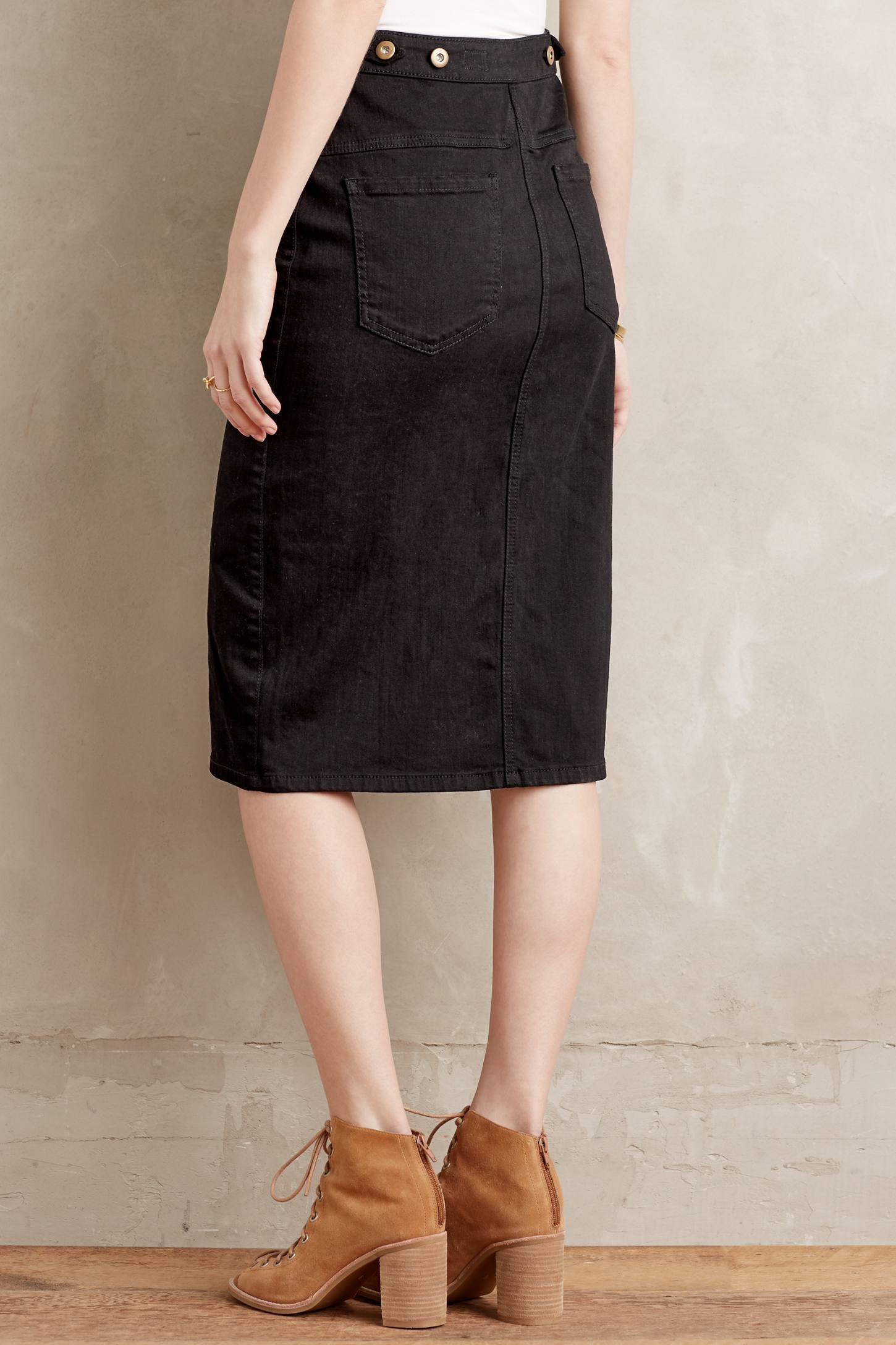Anthropologie Denim Pencil Skirt in Black | Lyst
