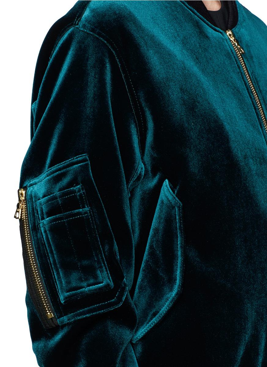 5d7c8e377 Sandro 'ventura' Velvet Bomber Jacket in Green - Lyst