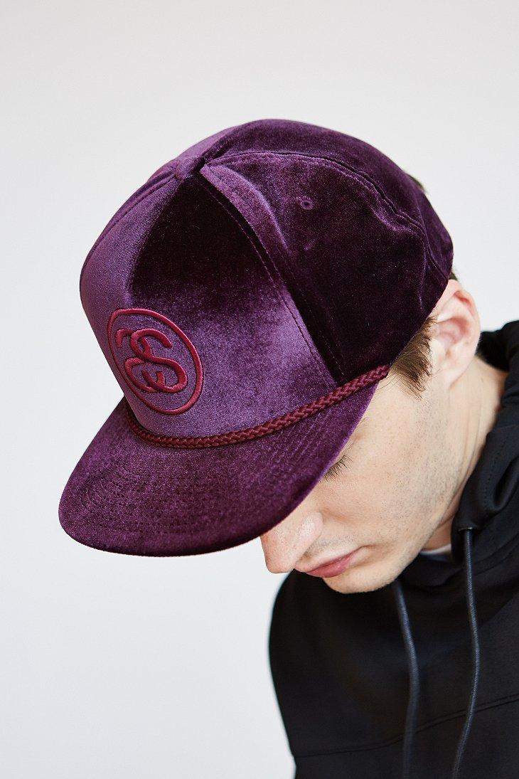 Stussy Velvet Snapback Hat in Purple for Men - Lyst e189d376993