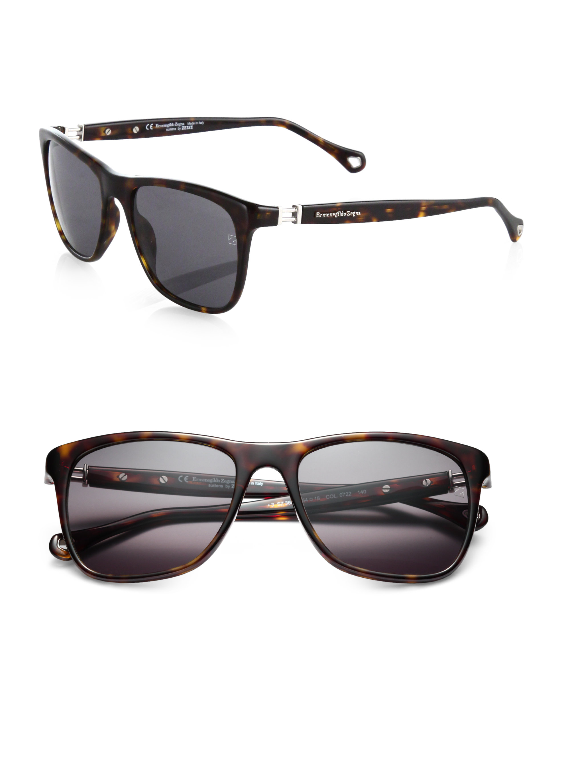 2eff218a Ermenegildo Zegna Brown Resin Wayfarer Sunglasses for men