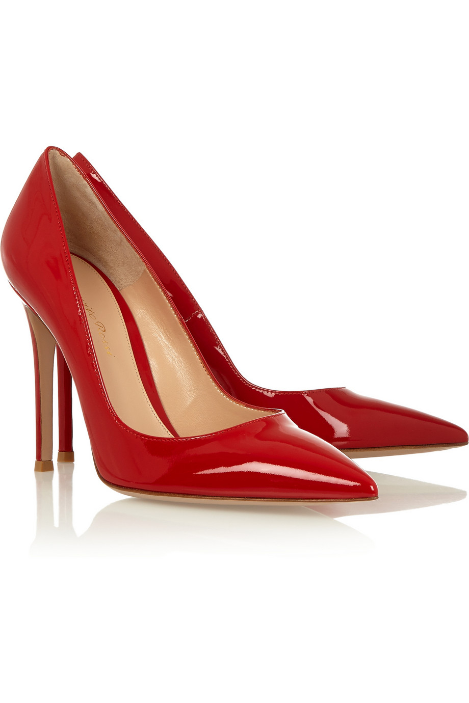 Red patent pumps with white ankle socks