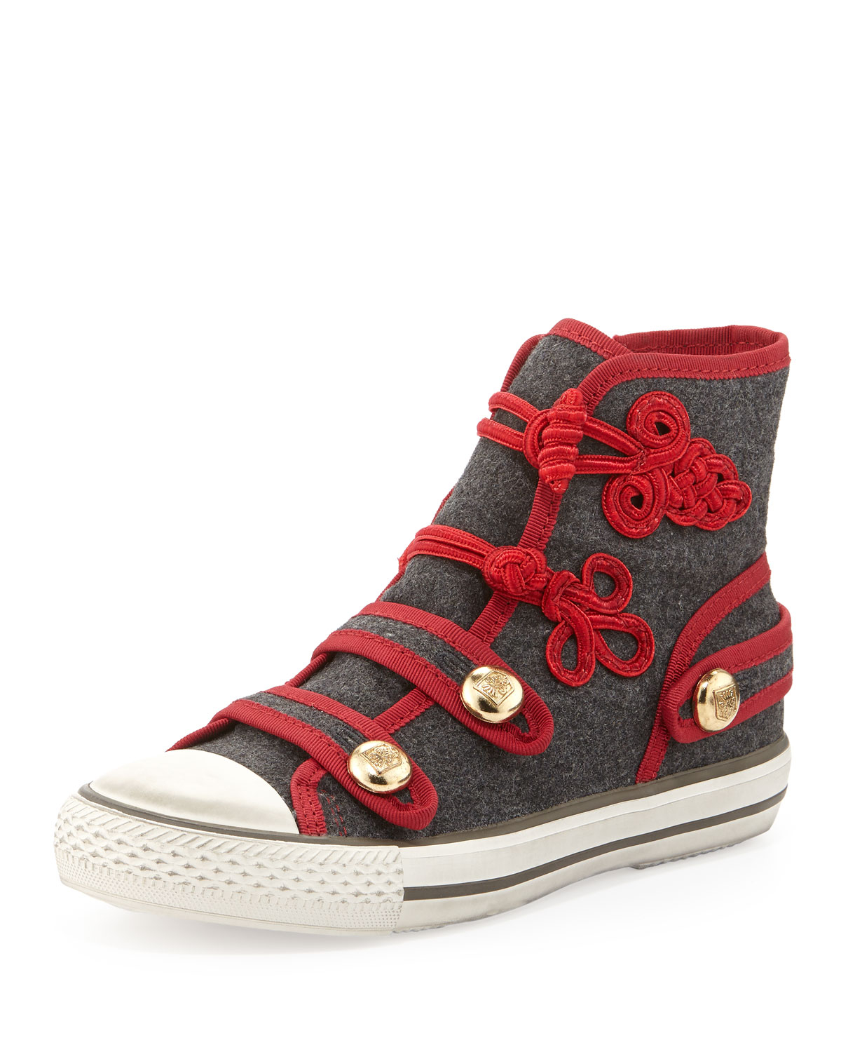 ash victory flannel high top sneaker gray red in gray 5 lyst. Black Bedroom Furniture Sets. Home Design Ideas
