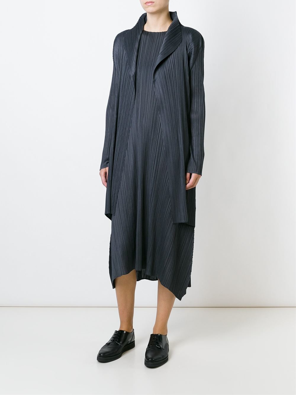 Lyst Pleats Please Issey Miyake Long Pleated Jacket In Gray