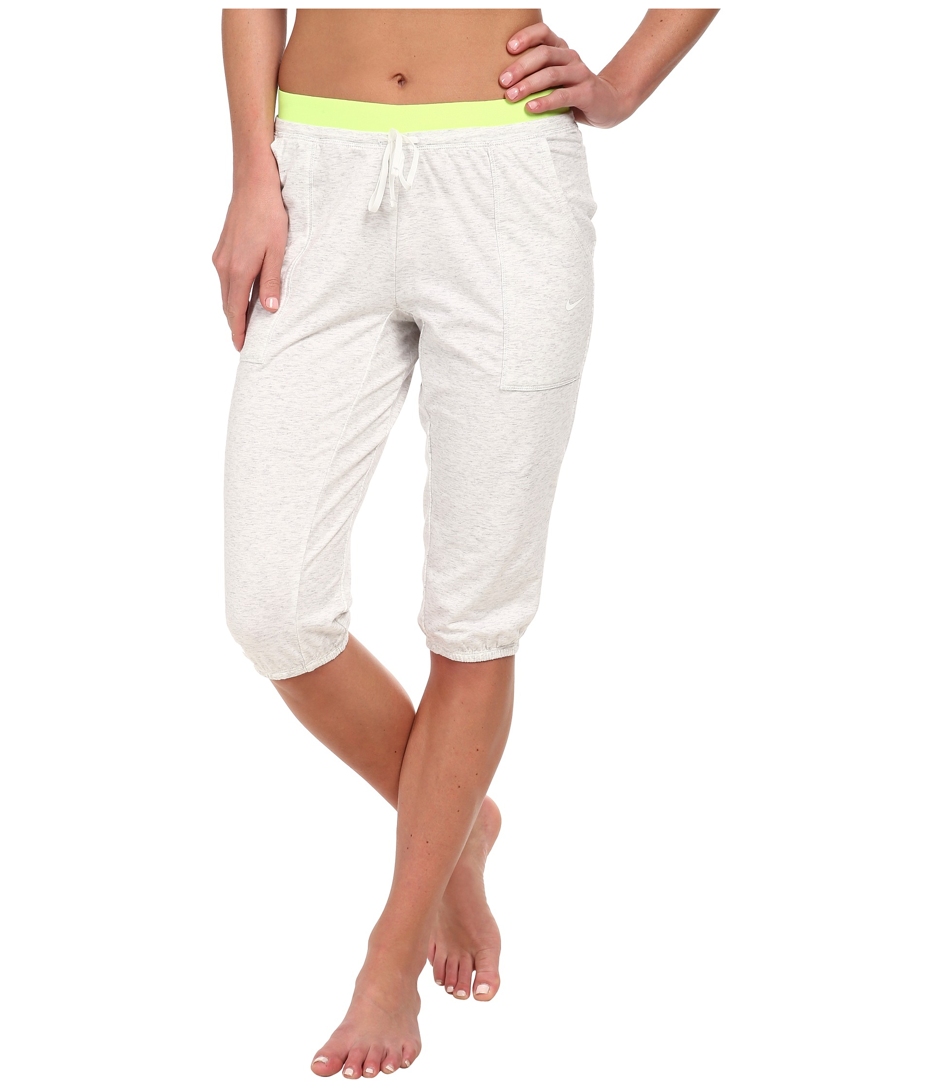 Nike Womens Lightweight Obsessed Training Capri Birch Heather/Volt/White - Pants