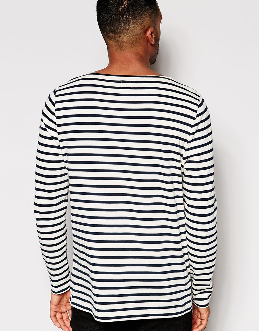 Lyst Asos Stripe Long Sleeve T Shirt With Boat Neck In