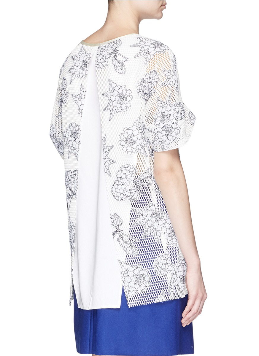 Lyst helen lee floral embroidery mesh long t shirt in white for Embroidered mesh t shirt