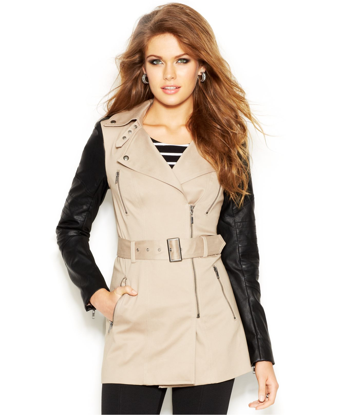 6682d00f358e1 Lyst - Guess Faux-Leather-Sleeve Belted Trench Coat