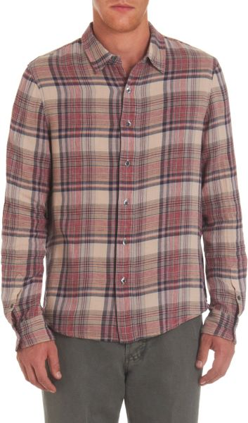 James Perse Over Plaid Flannel Shirt In Red For Men