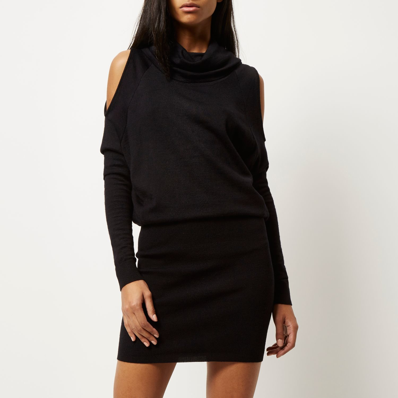 River island black cold shoulder pencil dress