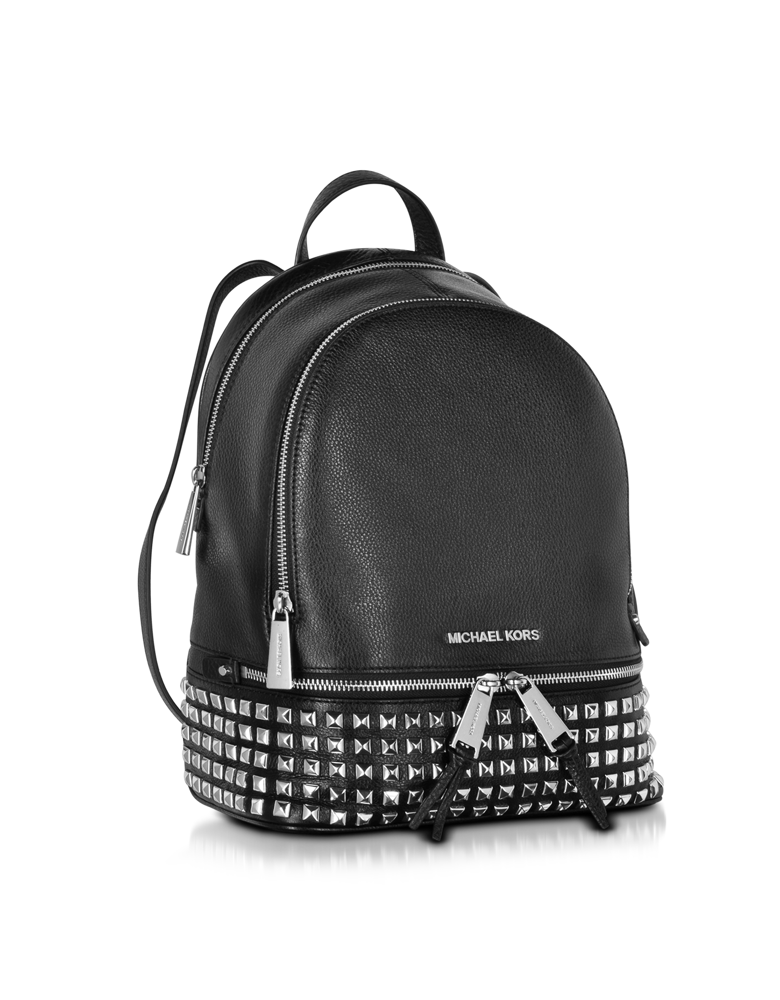 05b12b8380 Lyst - Michael Kors Rhea Zip Small Studded Leather Backpack in Black