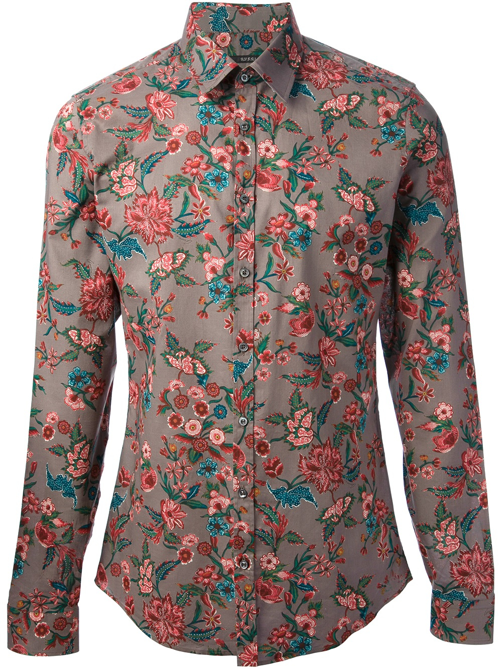 Gucci Floral Print Shirt In Purple For Men Grey Lyst