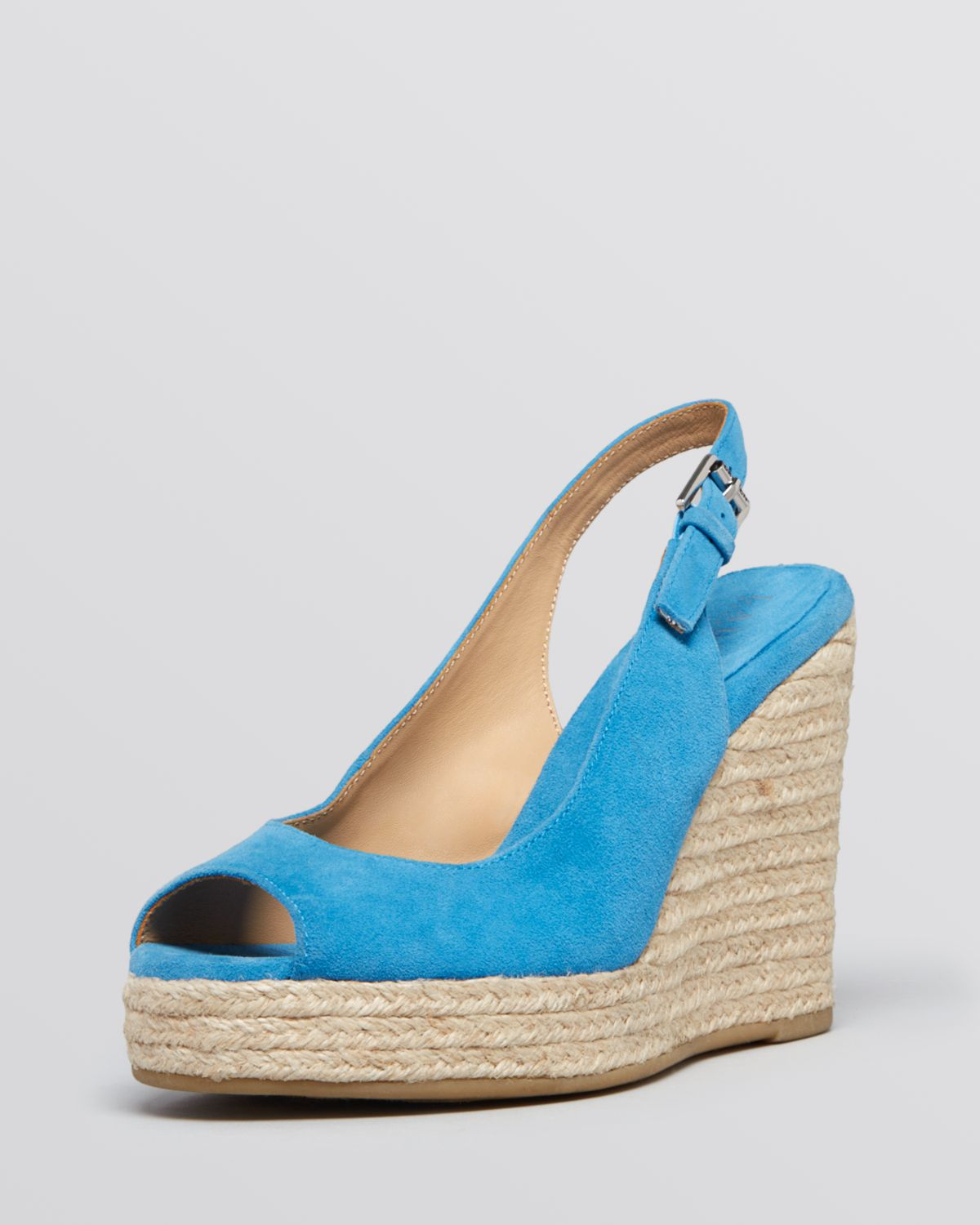 lauren by ralph lauren peep toe platform wedge espadrille sandals susy in blue french blue lyst. Black Bedroom Furniture Sets. Home Design Ideas