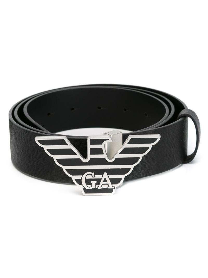 Emporio armani logo plaque belt in black for men lyst - Emporio giorgio armani logo ...