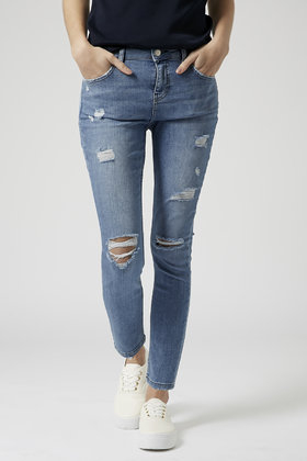 Topshop Petite Moto Bleach Authentic Ripped Skinny Jeans in Blue ...