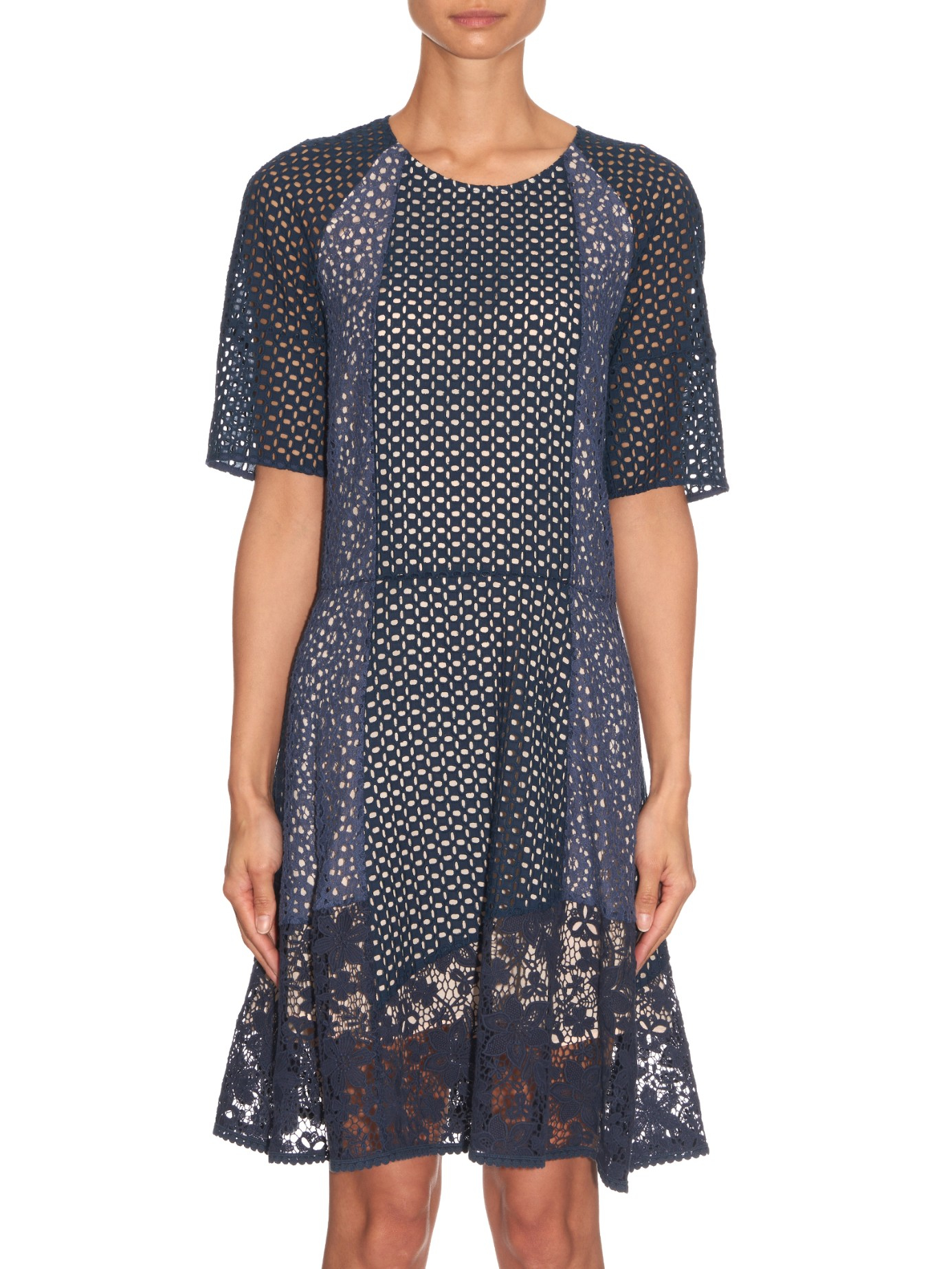 519a1d3f29327 See By Chloé Panelled Broderie-anglaise Cotton Dress in Blue - Lyst