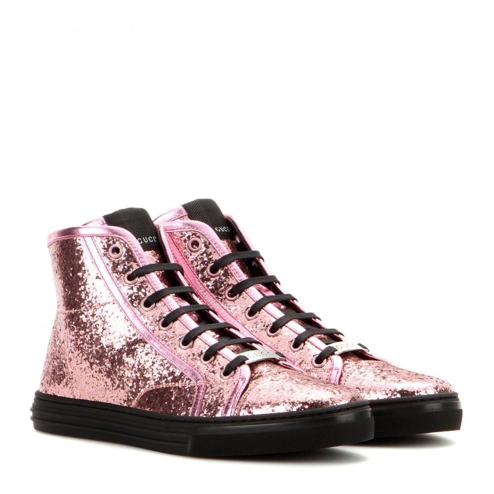 Gucci California Glitter High-Top Sneakers in Pink | Lyst