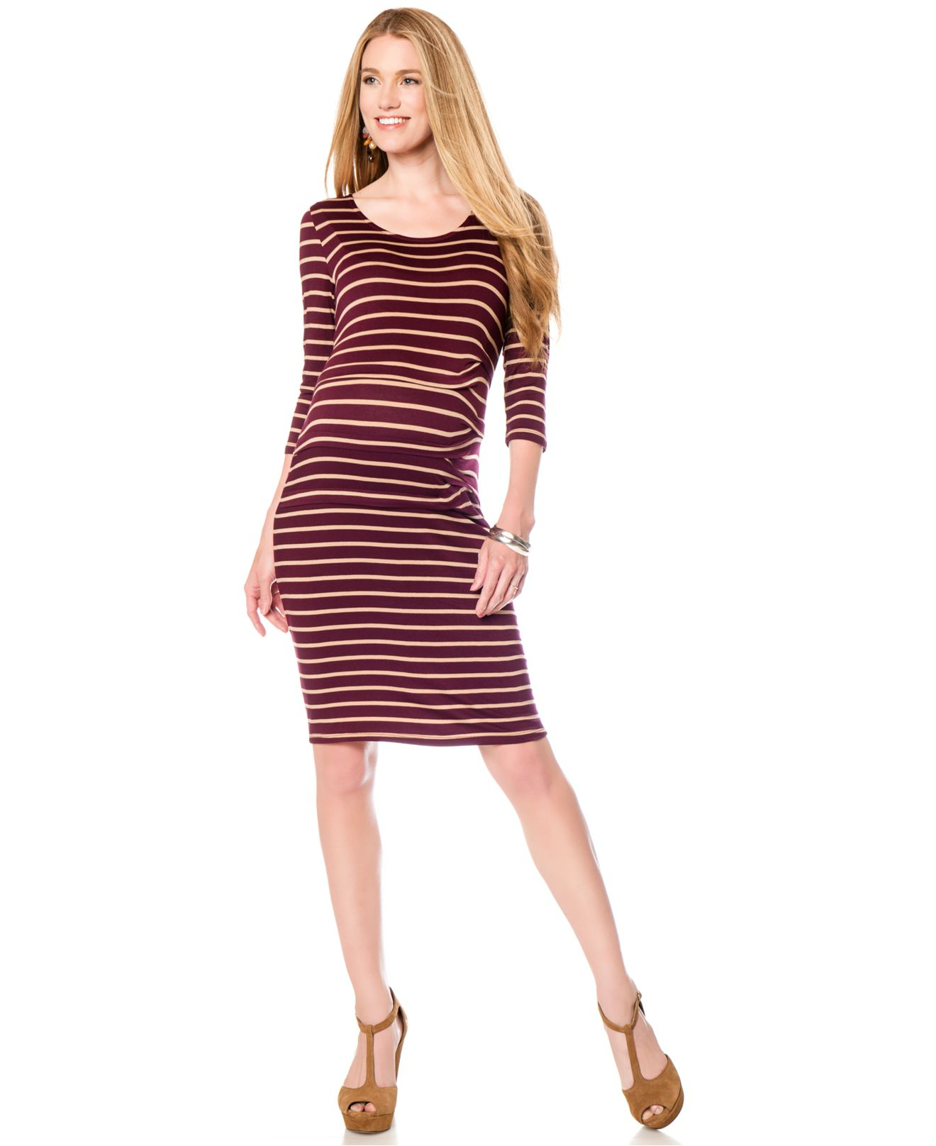 Jessica simpson maternity striped bodycon dress in red lyst gallery ombrellifo Gallery