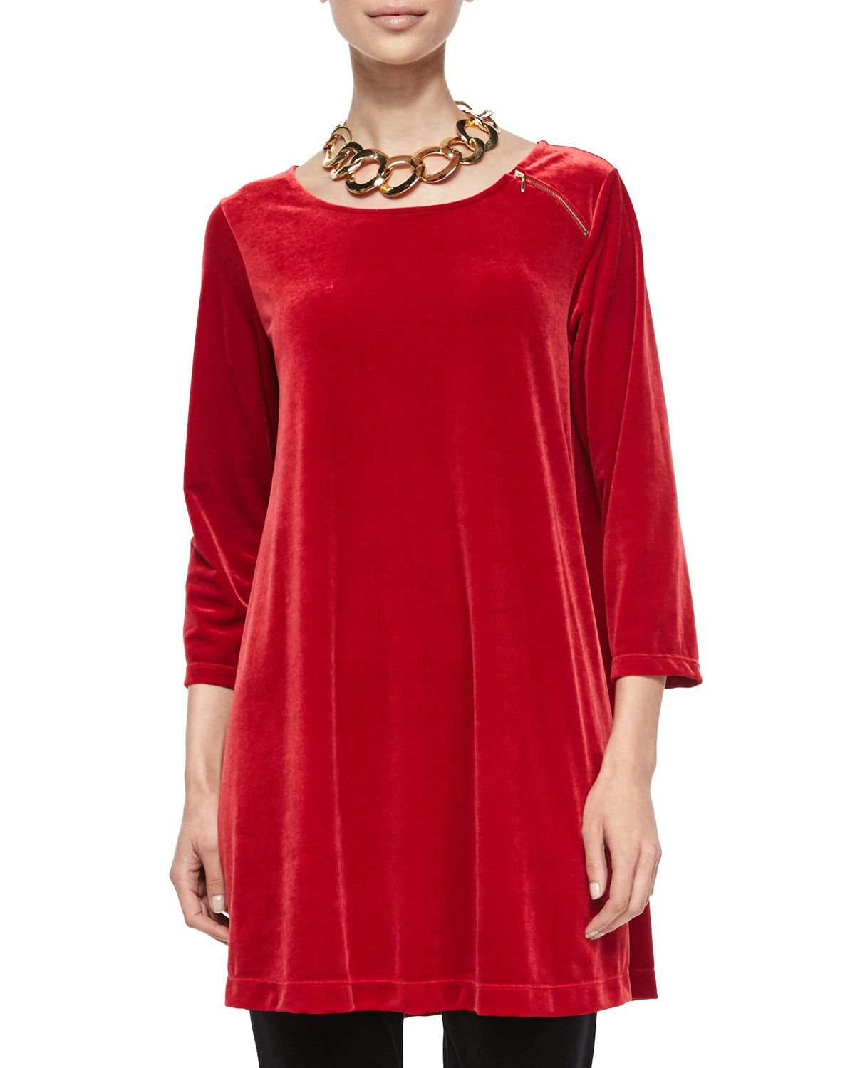 Joan Vass 3/4-sleeve Velour Tunic W/ Zipper Detail In Red
