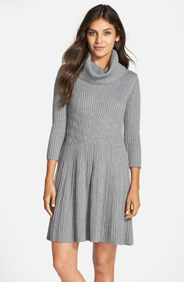 Eliza J Cowl Neck Crepe Sweater Dress In Gray Lyst
