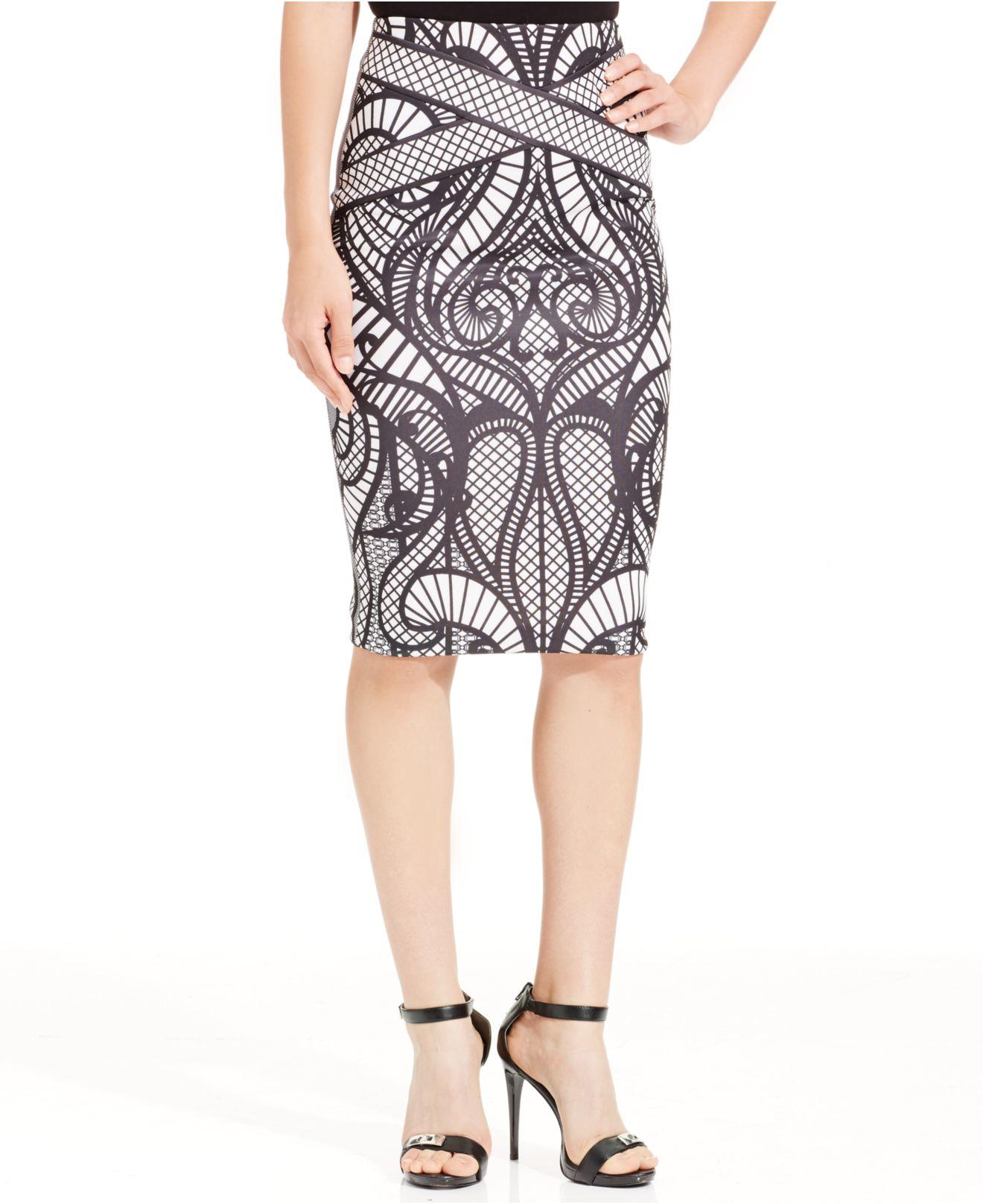 eci below knee printed pencil skirt in lyst