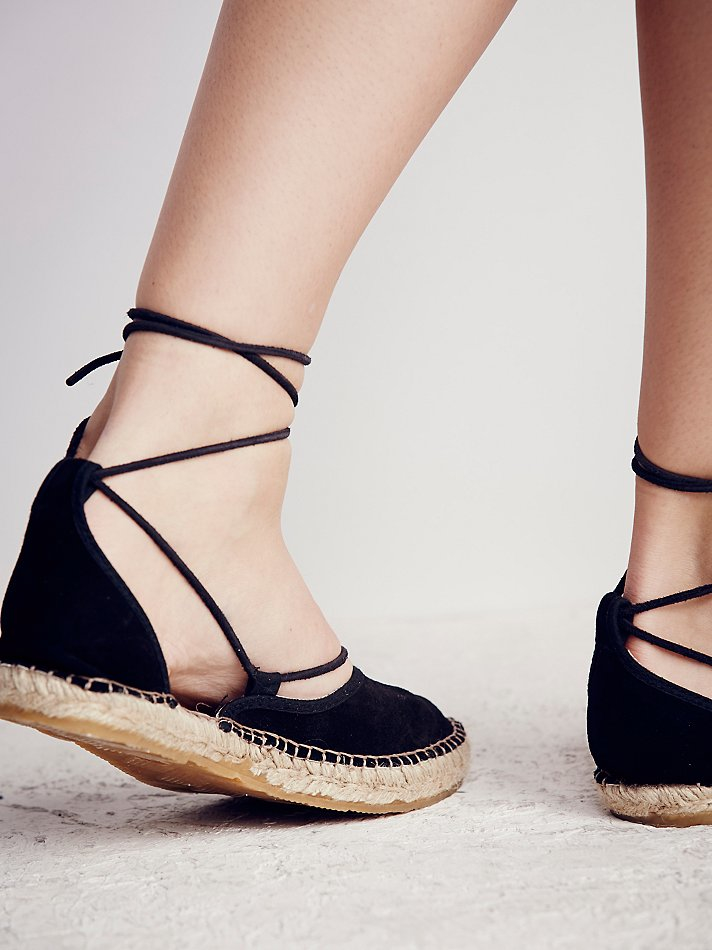 Lyst Free People Marina Lace Up Espadrille In Black