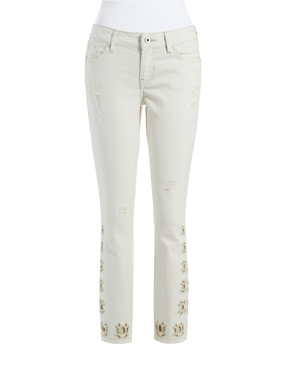 Guess embroidered cropped jeans in white lyst