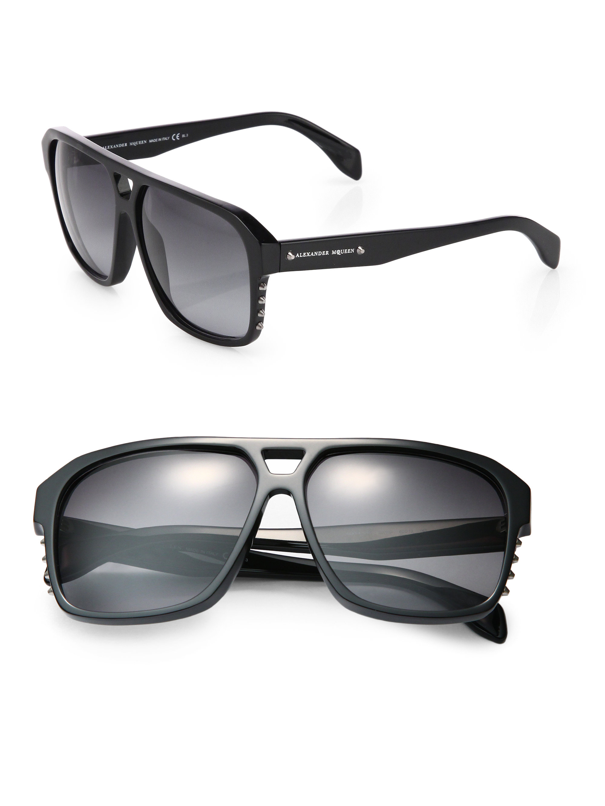 Lyst - Alexander Mcqueen Studded Acetate Sunglasses in Black