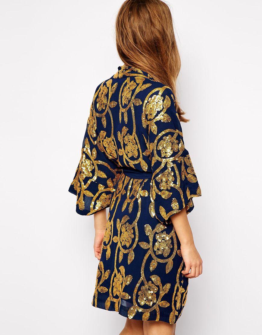 31766e0dc Ganni Gardenia Kimono In Floral Sequins in Blue - Lyst