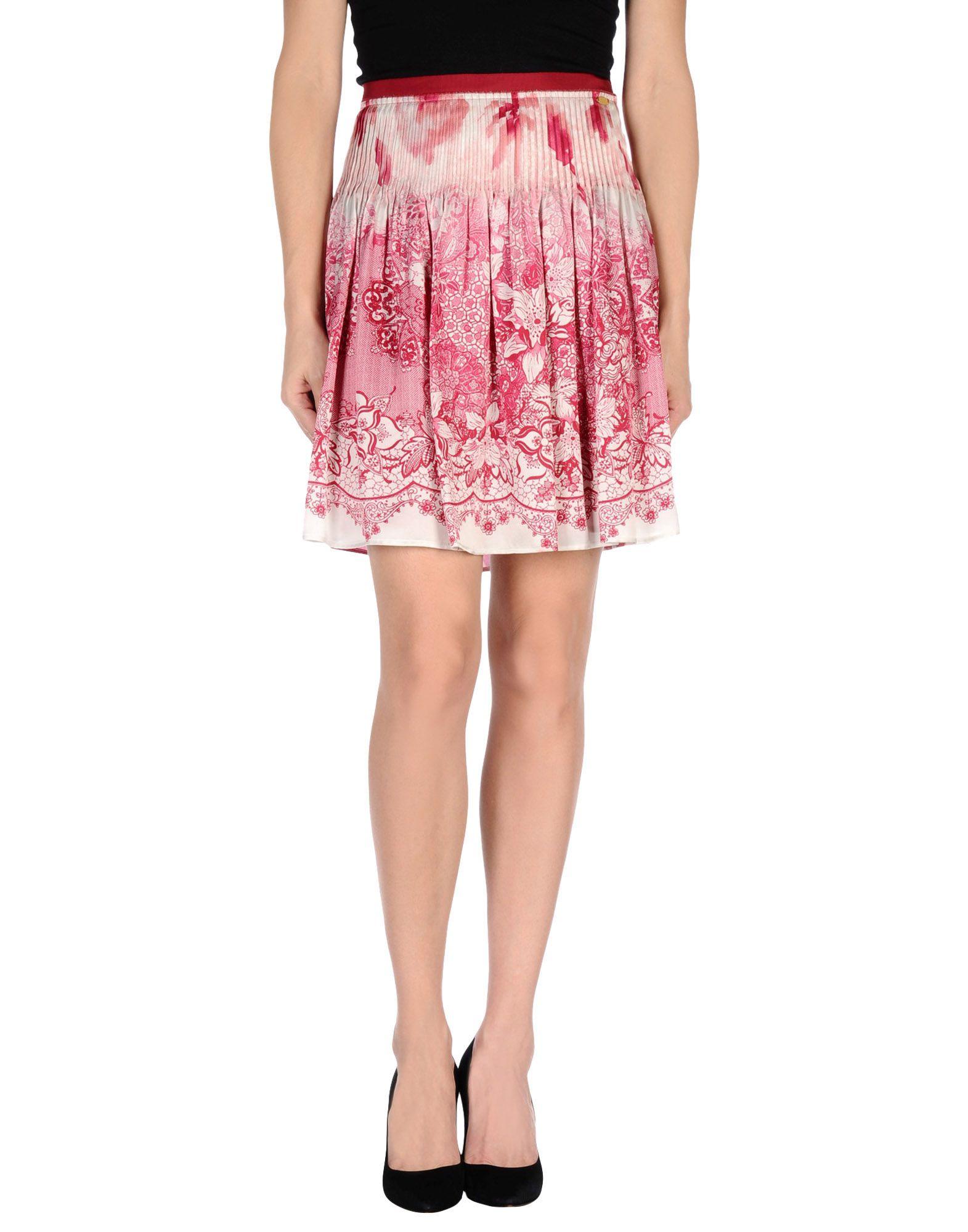 liu jo knee length skirt in floral garnet save 63 lyst