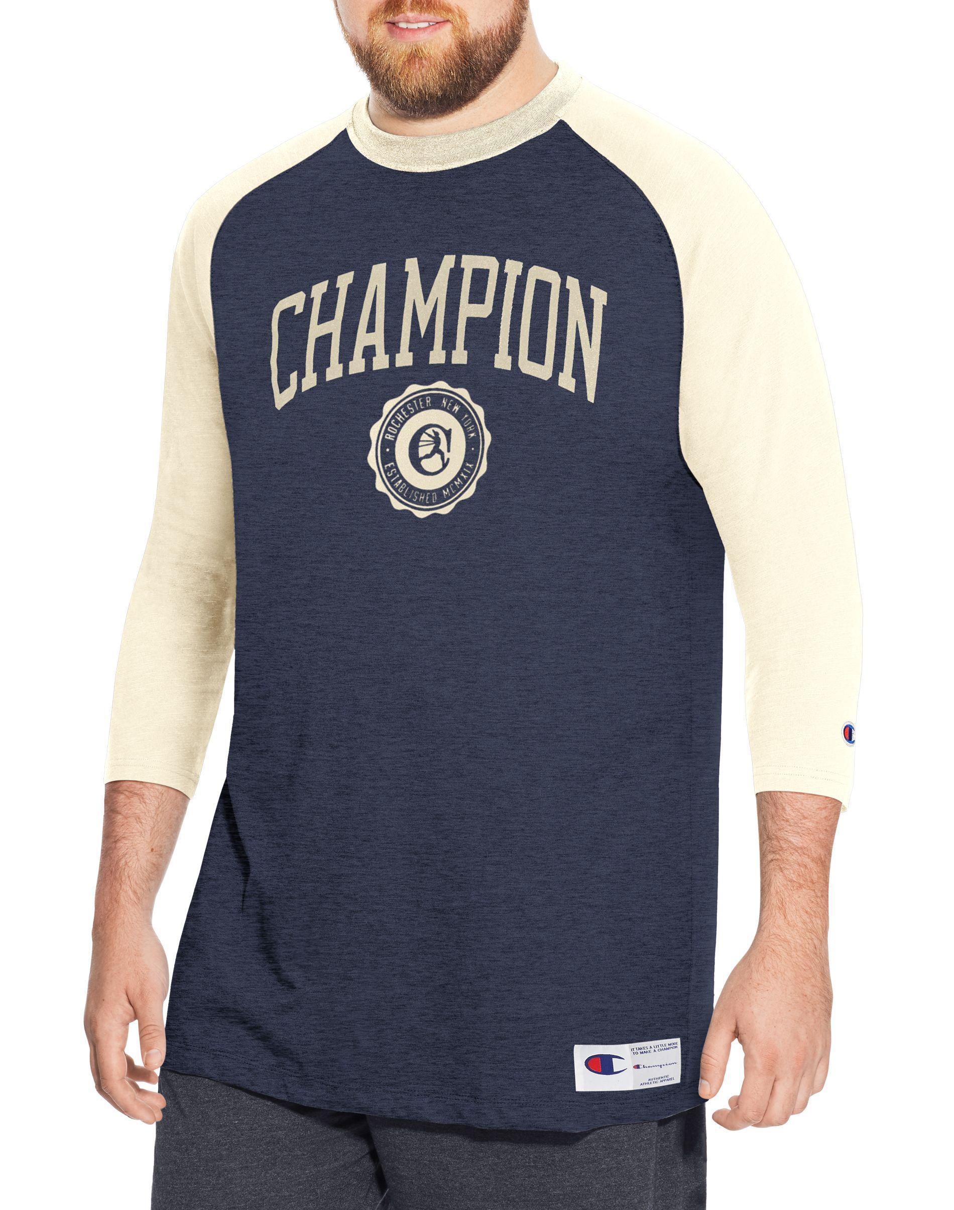 b348389a2 Champion - Blue Heritage Big   Tall Baseball Slub Tee for Men - Lyst. View  fullscreen