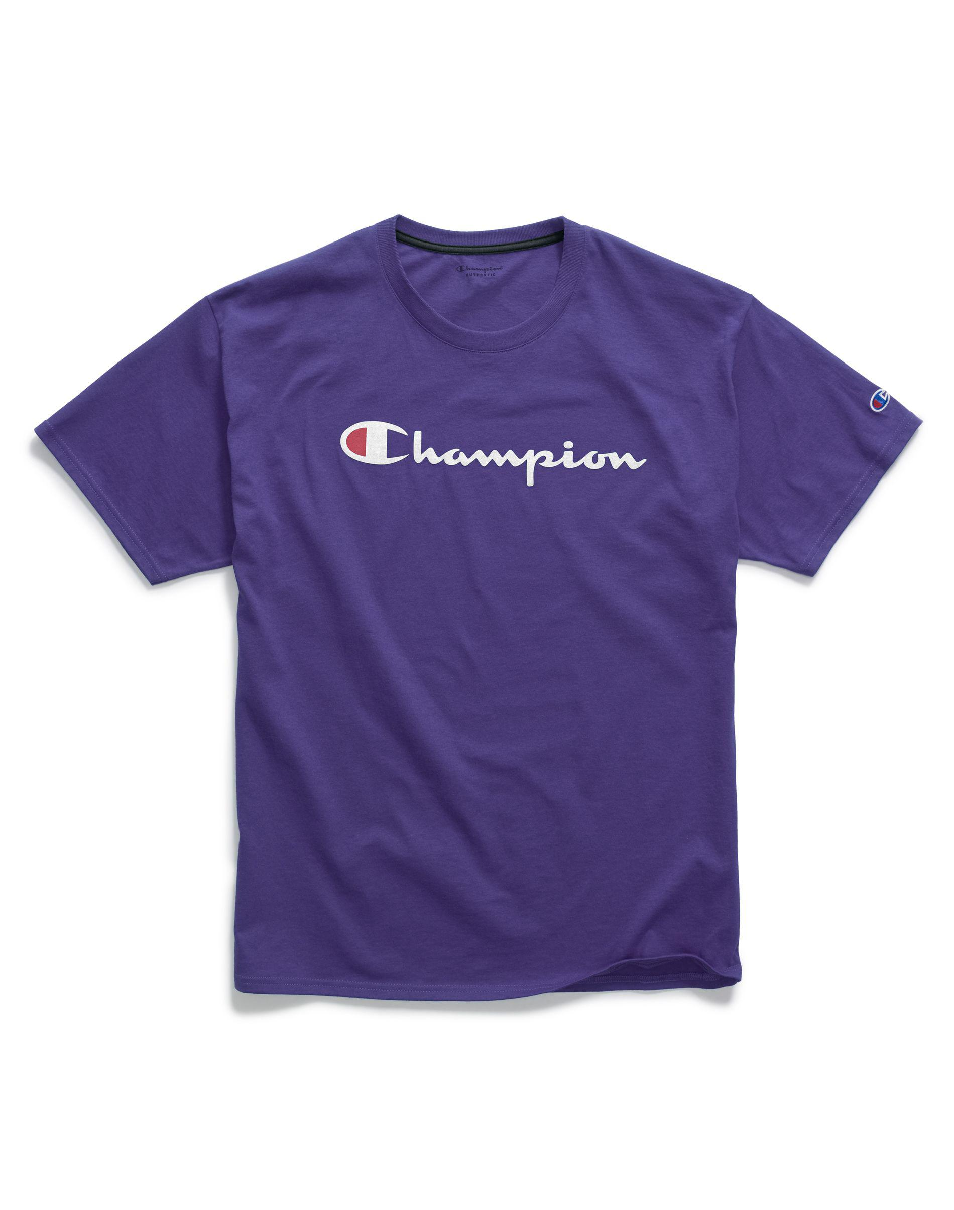 22c34255d7e2 Champion - Purple Graphic Jersey Tee, Script Logo for Men - Lyst. View  fullscreen