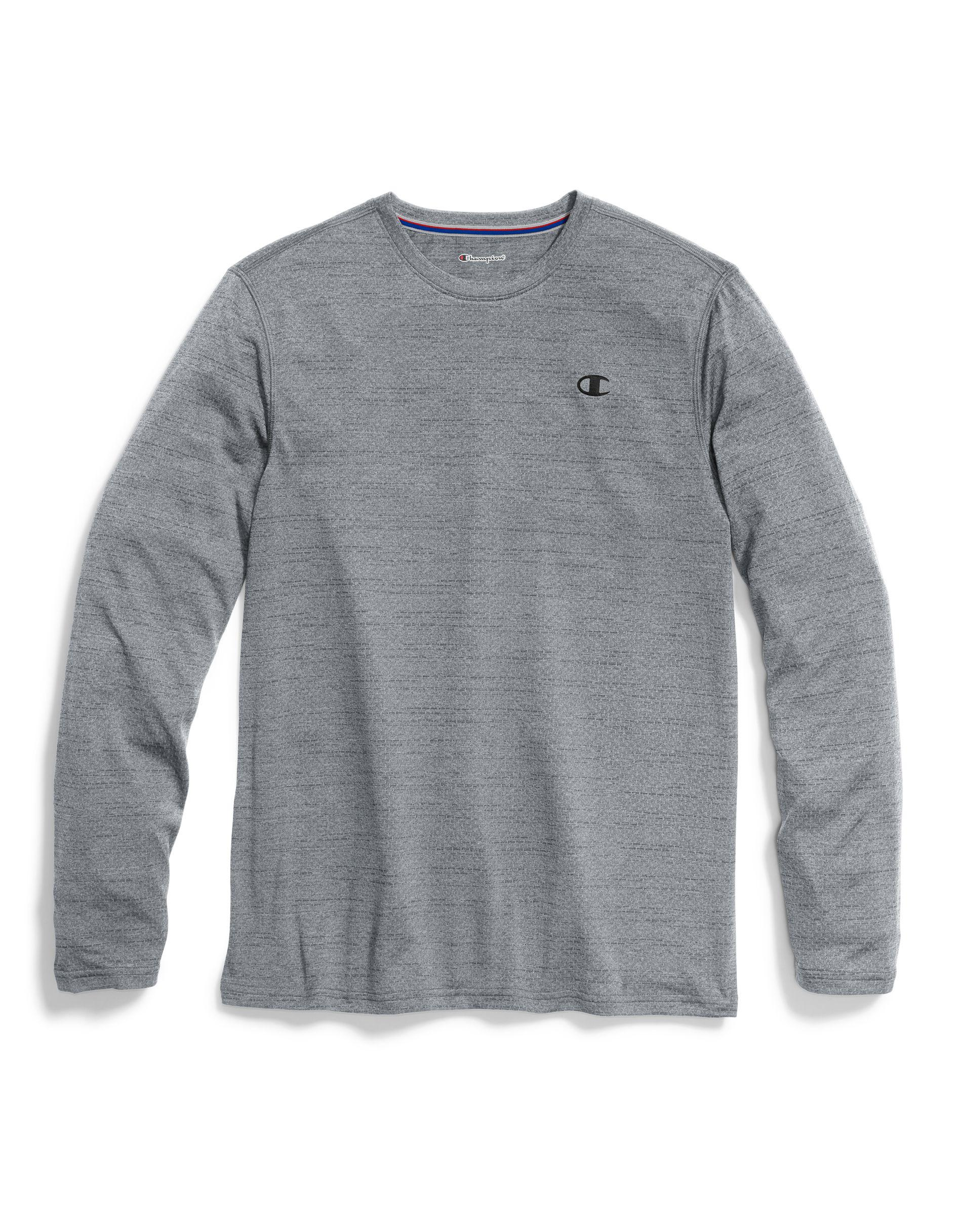 241207b2 Champion Double Dry® Heather Mesh-texture Long-sleeve Tee in Gray ...