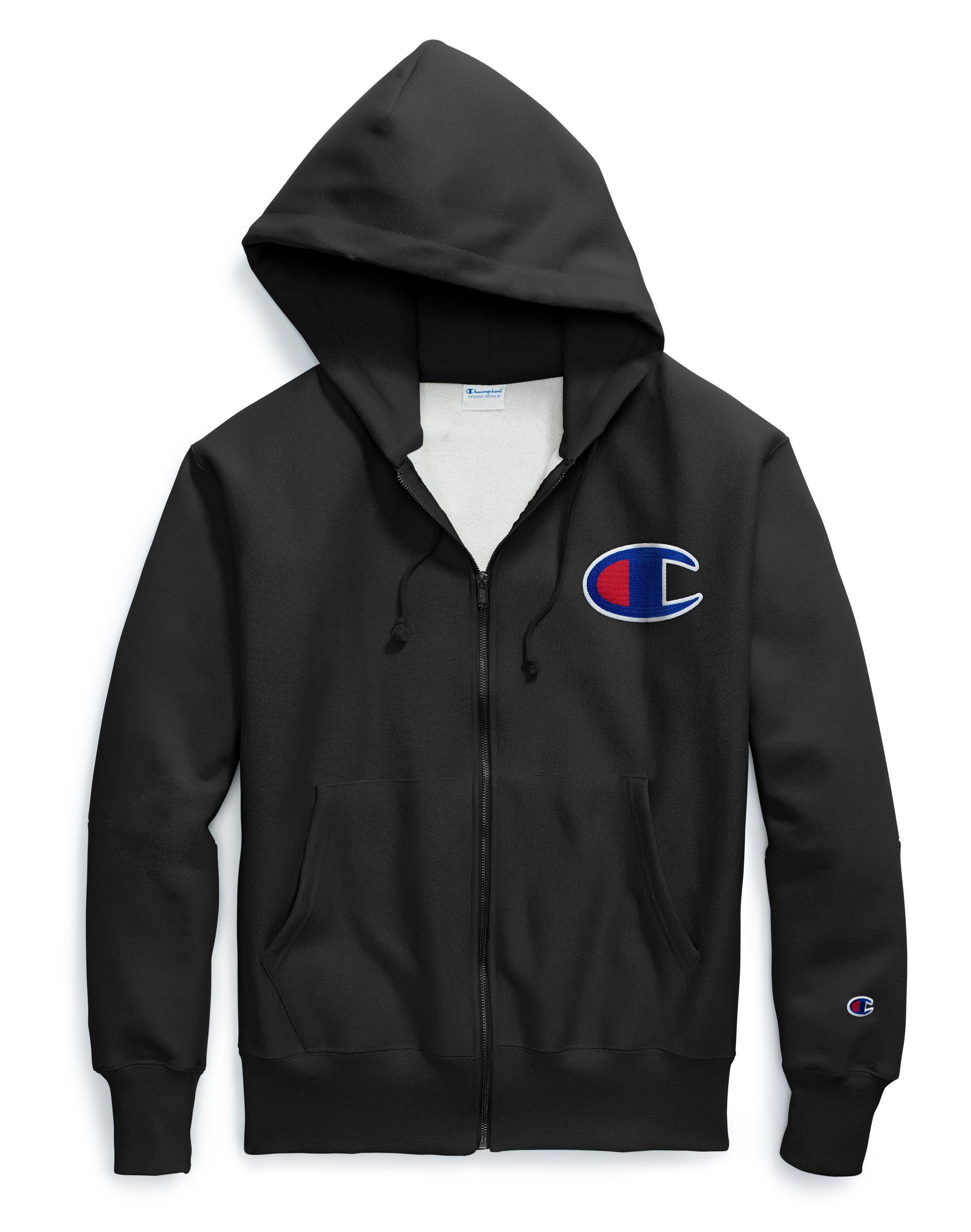 Champion Reverse Weave Full Zip Hoodie Chenille Big Patch Logo Classic