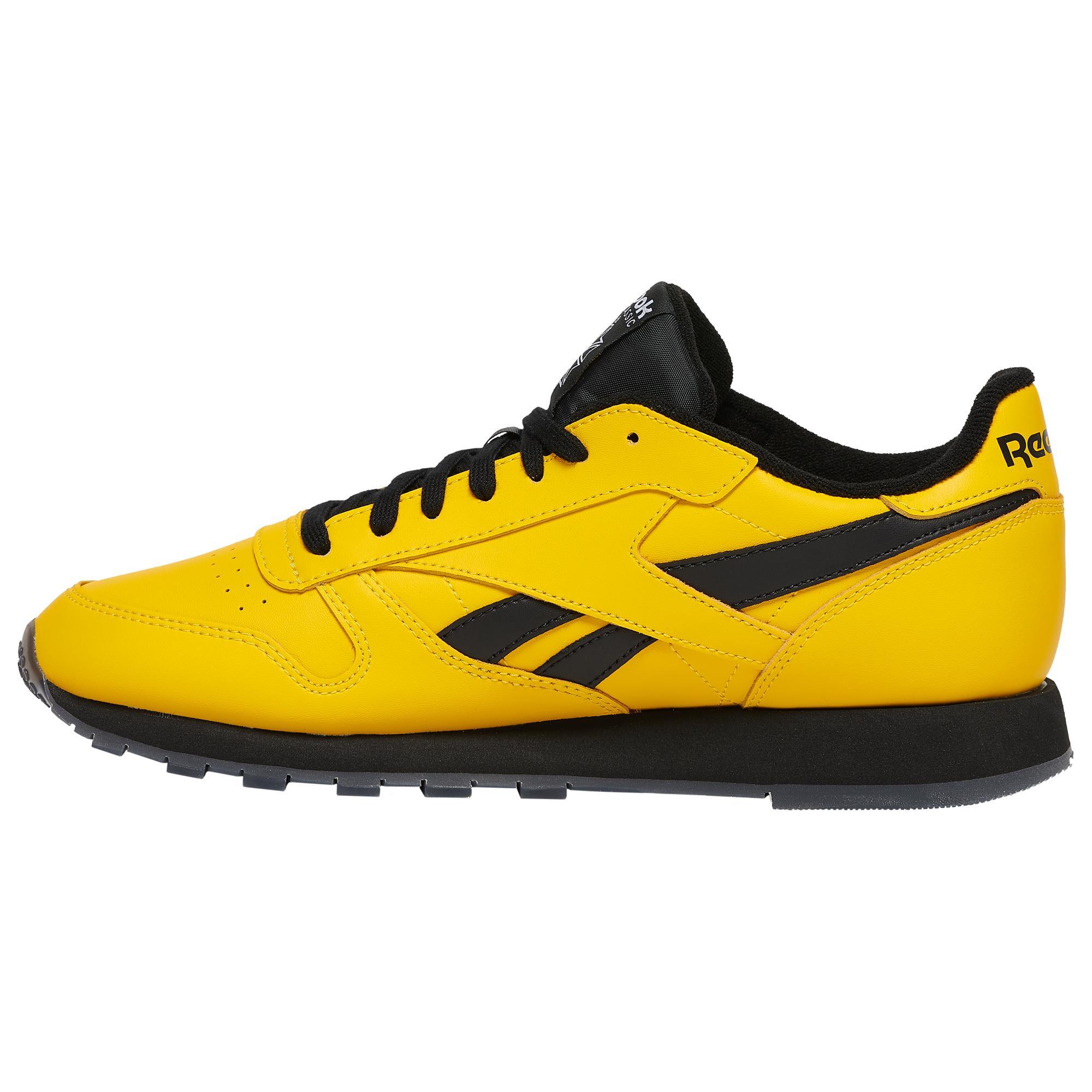 reebok classic yellow leather