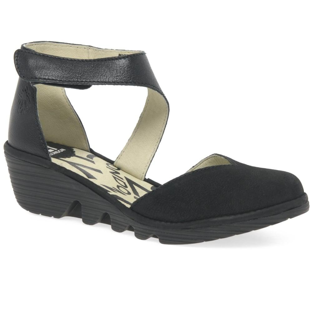 7766343c3bb91 Fly London Pats Womens Casual Wedge Heel Shoes in Black - Lyst