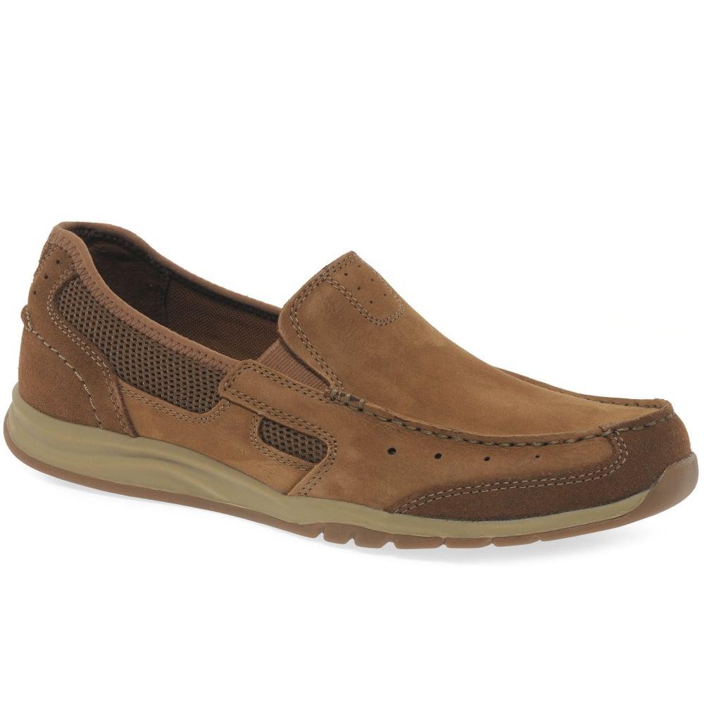 Mens CLARKS Ramada Spanish Nubuck Leather Slip On Shoes