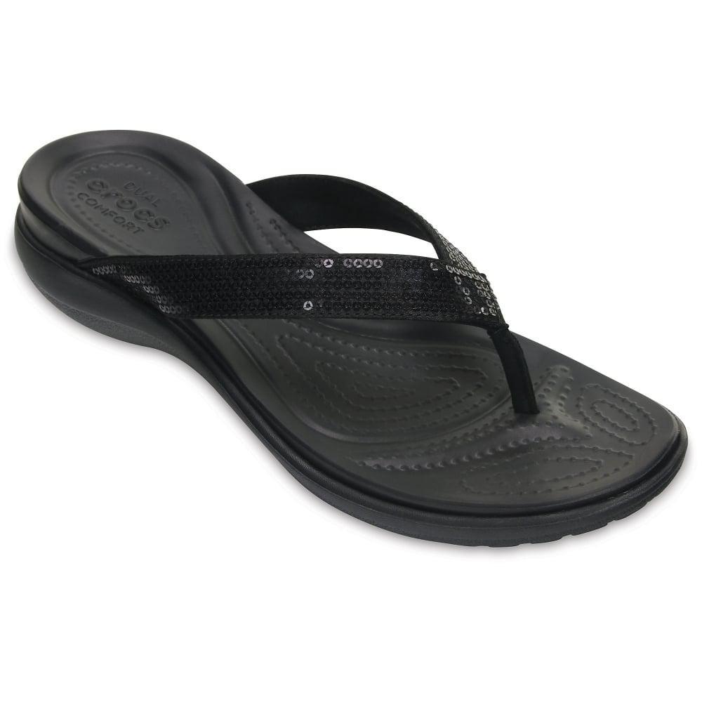 9ecaa8201 Lyst - Crocs™ Capri V Sequin Womens Toe Post Sandals in Black