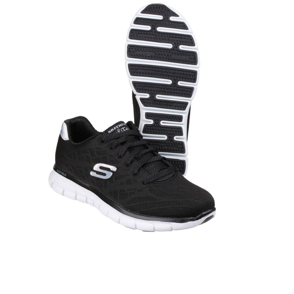 Skechers Synthetic Synergy Moonlight Madness Womens Sports Trainers in Black/White (Black) for Men