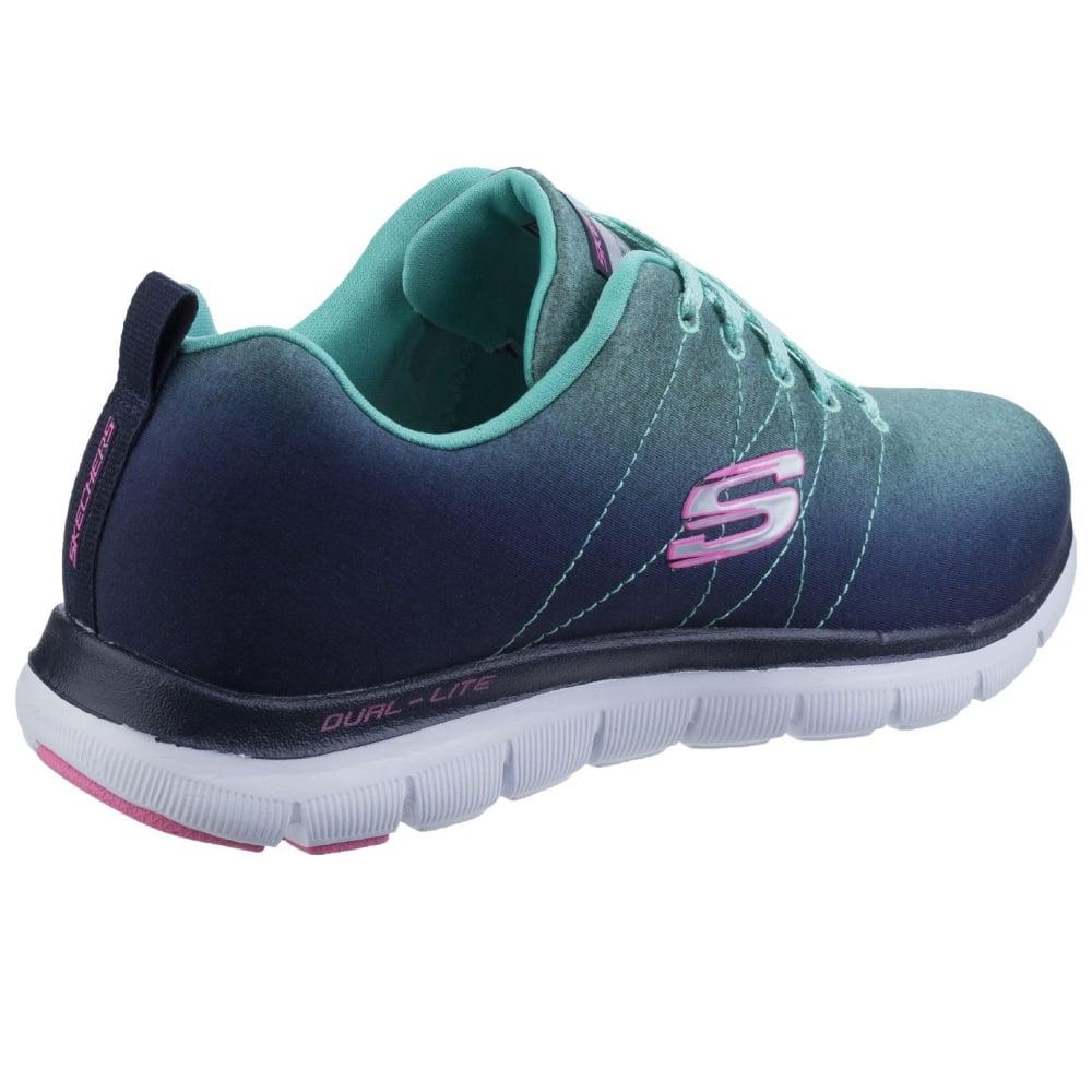 Skechers Rubber Flex Appeal 2.0 Bright Side Womens Sports Trainers in Blue