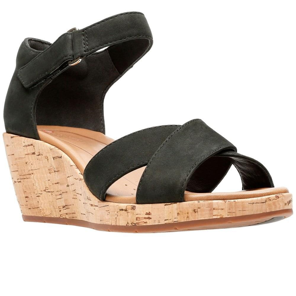 61f72a92f00 Lyst - Clarks Un Plaza Cross Womens Wide-fit Wedge Sandals in Black