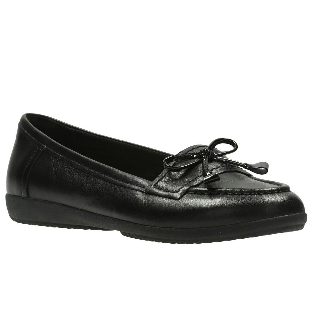 Clarks Black Leather Feya Bloom Flat Shoes