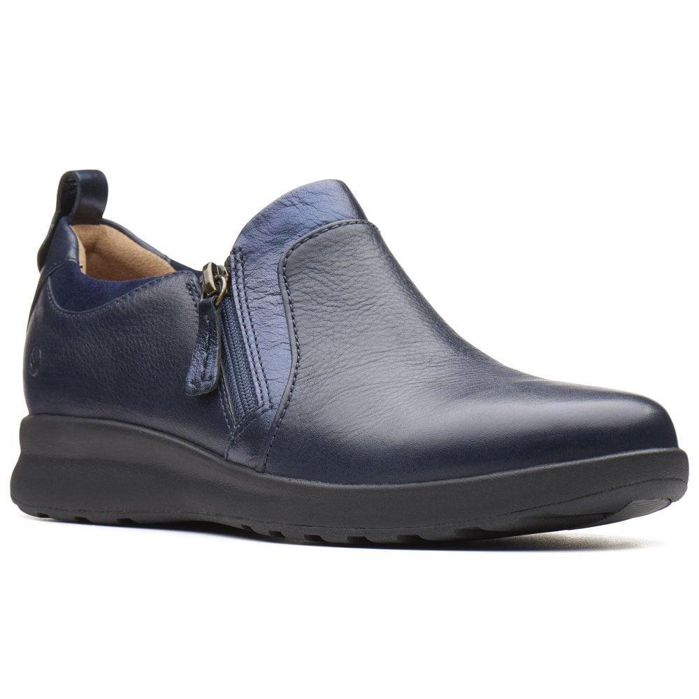 6131d5edfd4 Clarks Un Adorn Zip Womens Wide Fit Casual Shoes in Blue - Lyst