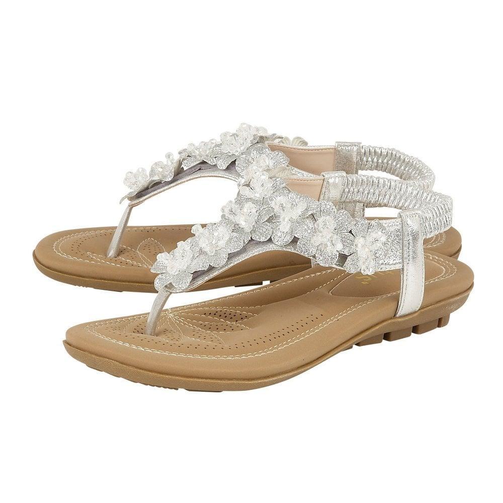 D Fitting Ladies Clarks Tri Carmen Metallic Leather Toe Post Mule Sandals