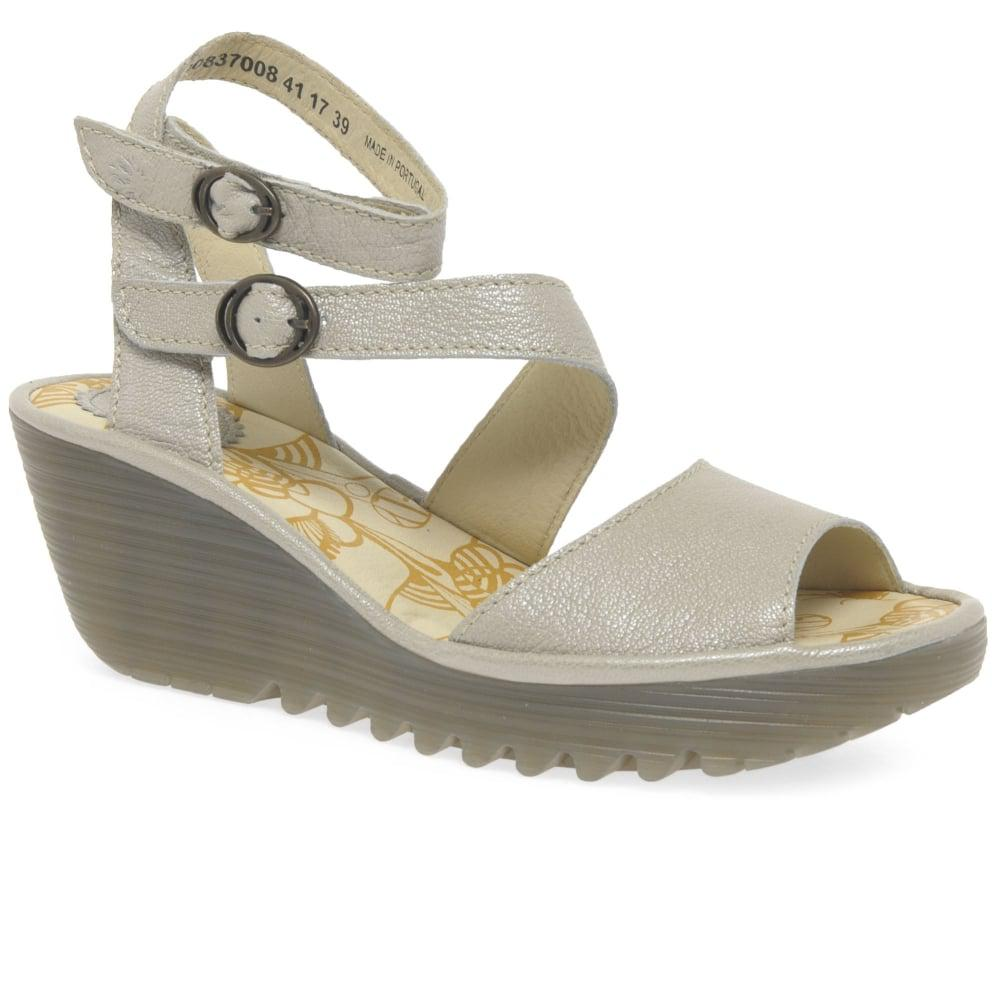 1e98f3dfe1f4e Lyst - Fly London Yisk Womens Wedge Heel Sandals in Metallic - Save 14%