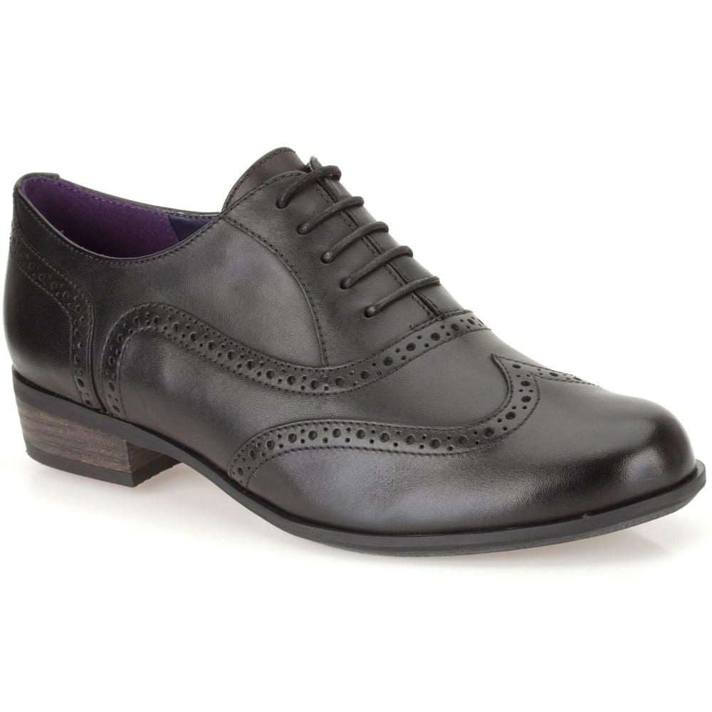 0f6e94bccd70 Lyst - Clarks Hamble Oak Womens Wide Leather Lace Up Brogues in Black