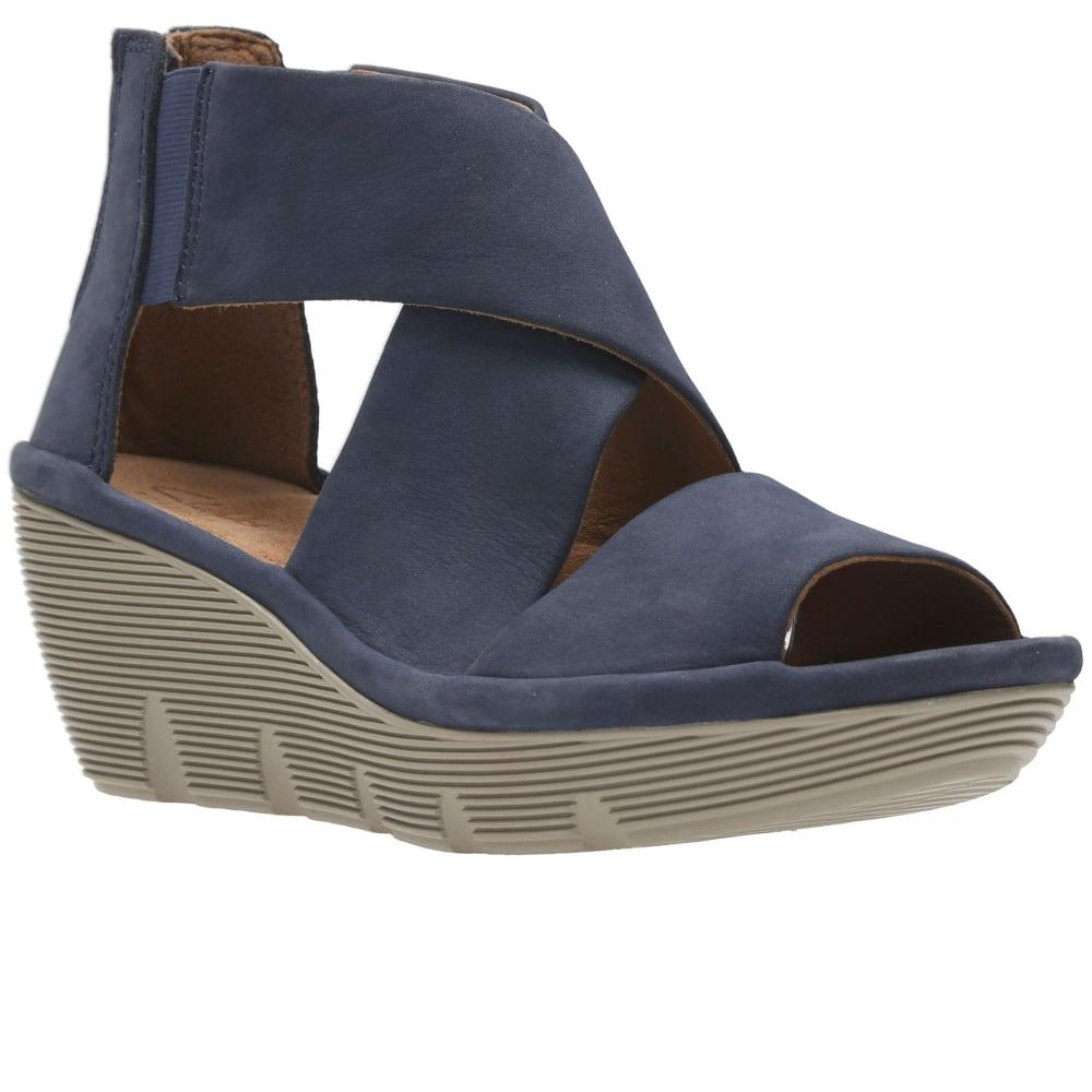 3f5de547d77 Lyst - Clarks Clarene Glamor Womens Wedge Heel Sandals in Blue