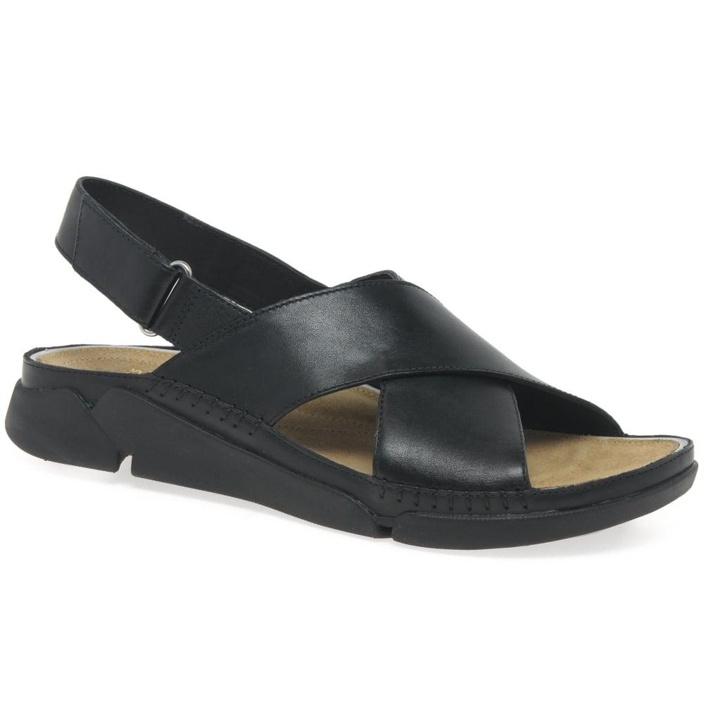 Clarks Leather Tri Alexia Womens Casual Sandals In Black