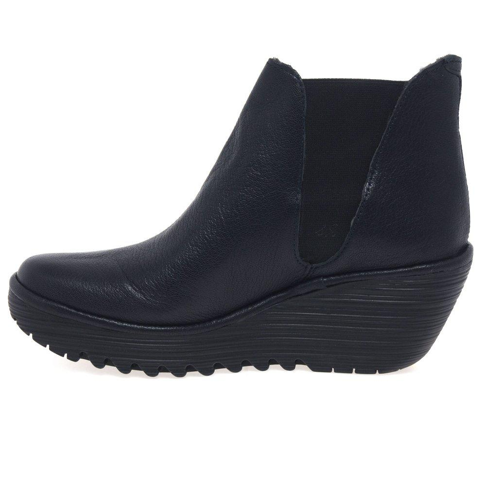 Fly London Leather Yoss Womens Casual Ankle Boots in Navy (Blue)
