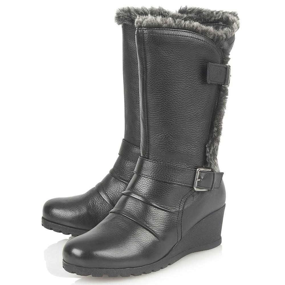 Lotus Leather Korinna Womens Calf Length Boots in Black