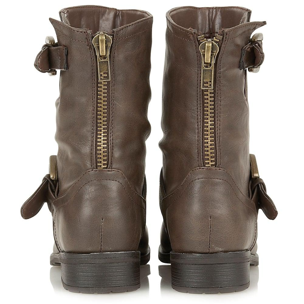 Lotus Synthetic Barberry Womens Biker Boots in Brown